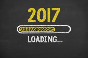 Loading New Year 2017 on Chalkboard Background