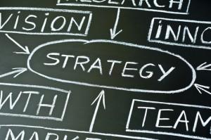 Strategy flow chart on a blackboard