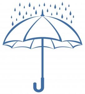 Umbrella and rain, pictogram