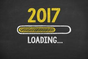 Loading New Year 2017 on Chalkboard Background
